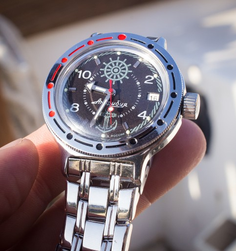 Vostok Amphibia Unboxing – Vostok Amphibia face, with protective plastic removed.