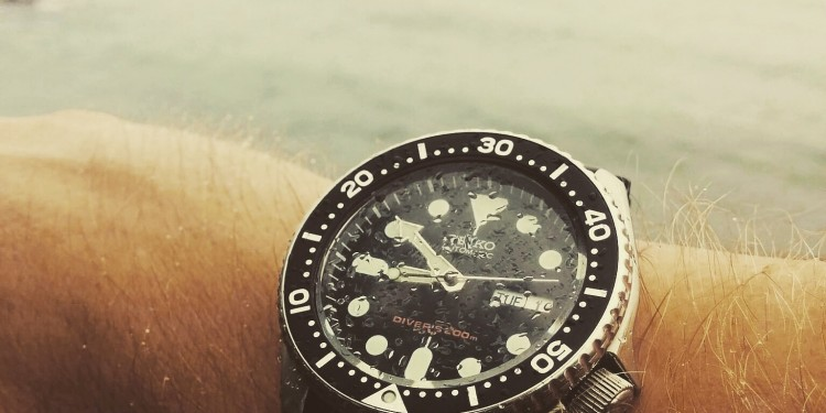 Seiko SKX007 in the fog, with water droplets