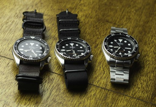 Seiko SKX007 Strap Comparison - leather, black NATO, oyster bracelet