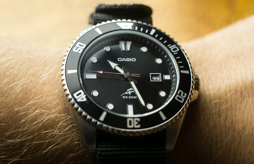 Casio MDV106-1A Review – Wrist Shot with black NATO strap