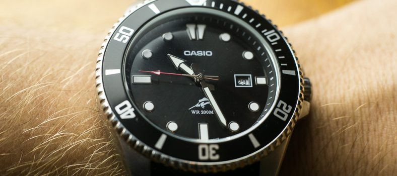 Casio MDV106-1A Wrist Shot with black NATO strap