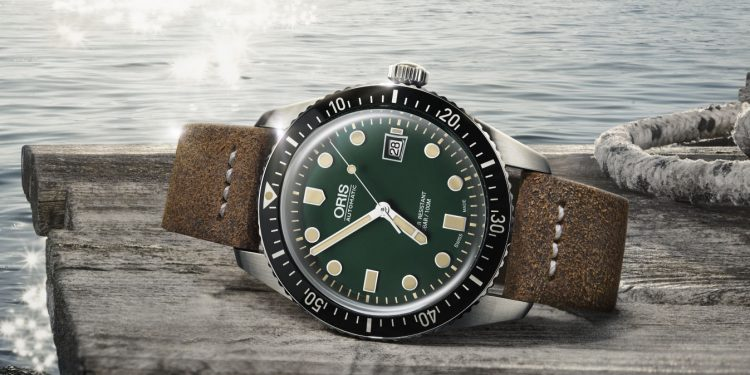 Oris Divers 65 Green Dial Leather Strap