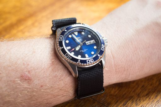 Orient Ray II Dive Watch Review – Wrist shot on black NATO