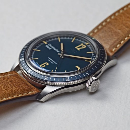Christopher Ward Retro C65 Trident Diver Blue Leather Side
