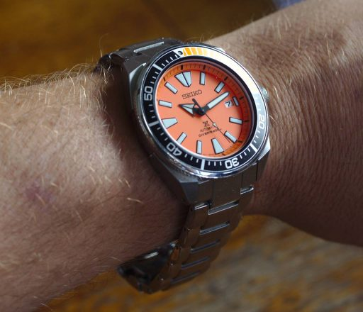 Seiko SRPC07 Orange Samurai Review - Wrist Shot