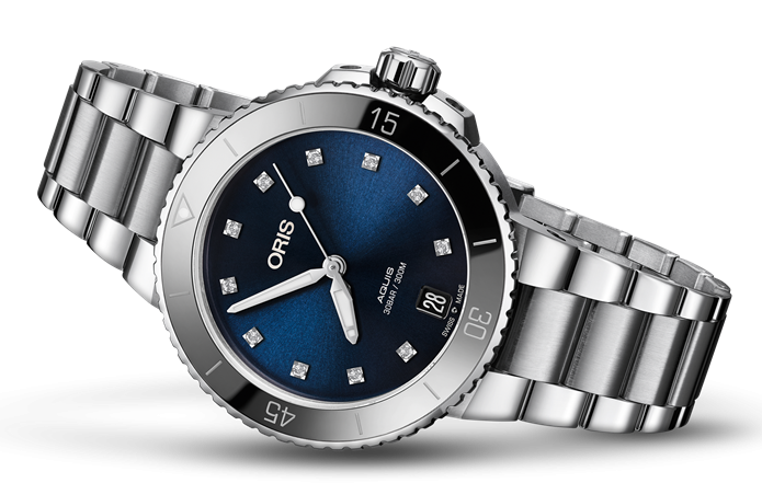 Best Womens Dive Watches - Oris Aquis Date Diamonds Blue Steel