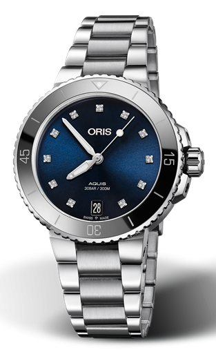 Best Ladies Dive Watches - Oris Aquis Date Diamonds Blue Steel