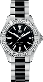 Best Women's Dive Watches - Tag Heuer Aquaracer 300M 35mm Black Diamonds